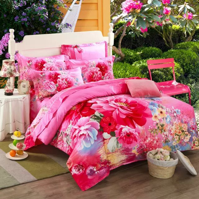 Chinese Style Peony Pink Flower Beautiful Bedding Set Queen King Size Pure Cotton Textile Sets Duvet Cover Bed Sheets Pillowcase(China (Mainland))