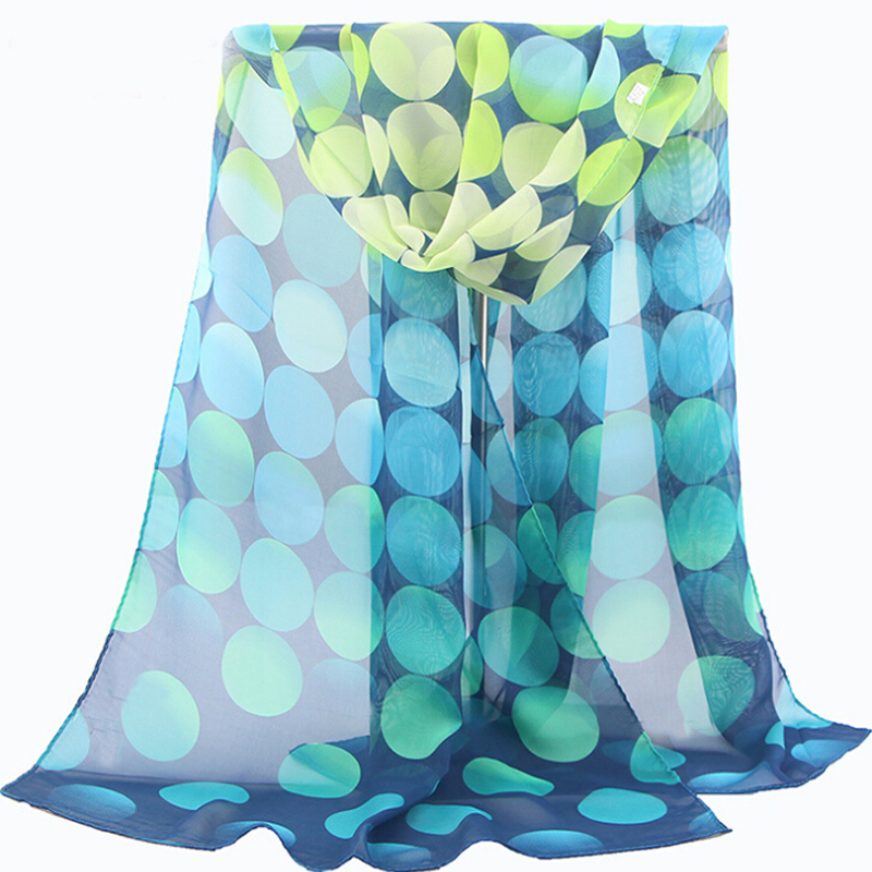 winter summer colorful long cape wave point chiffon georgette silk scarf women shawls ladies scarves echarpes foulards femme(China (Mainland))
