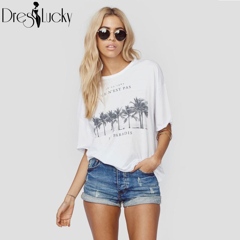 2016 European High Street Summer t shirt Casual Short Sleeve Women Tops Loose Plus Size Print Women's Fashion T-shirts haoduoyi(China (Mainland))