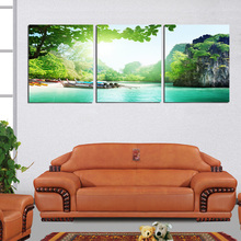 3 Panel Landscape Painting Green Mountain And Lake Canvas Paintings Spring Scape Decorative Pictures For The Wall Room Decor New(China (Mainland))