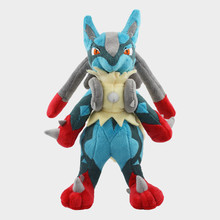 25cm Anime Pokemon Center Mega Lucario XY Soft Stuffed Plush Toy Cartoon Animal Plush Doll For Children