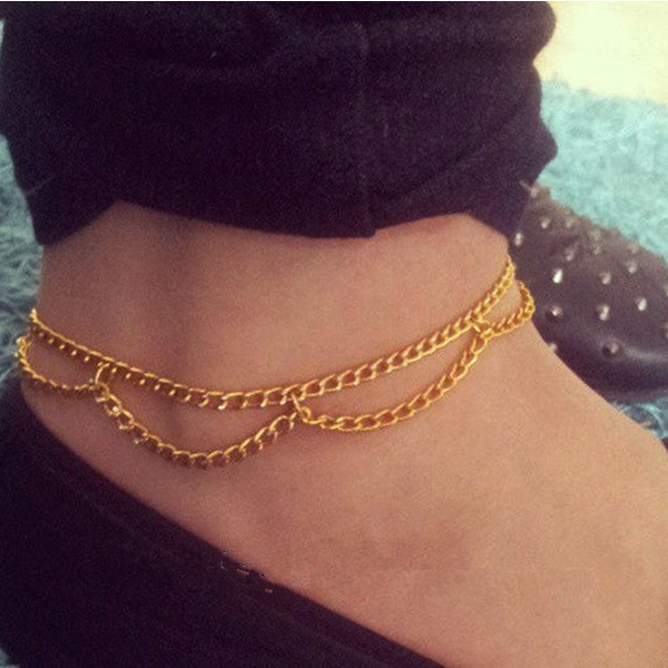Simple Elegant Sexy Double Layer Tassel Gold Alloy Chain Anklet Bracelet Ankle Foot Barefoot Sandals Shoe Beach Jewelry B00395(China (Mainland))