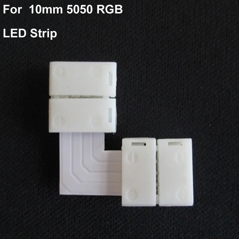 """Гаджет  5pcs/lot  no soldering """"L"""" Shape 10mm  LED Strip PCB Connector 5050 RGB 4PIN  None Свет и освещение"""