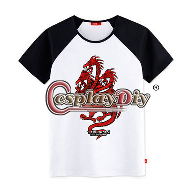 2015 New Free Shipping A Song of Ice and Fire Game of thrones Shirt House Targaryen with National Badge T Shirt D0519(China (Mainland))