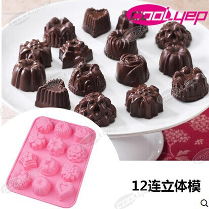 Chocolate Flowers Cake Decoration Telegraph : 12 Hole Flowers Shape Food Grade Silicone Cake Mold, Jelly ...