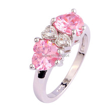 Wholesale PARTYING RING 502DR8-7 7*7mm Heart Cut Pink & White Topaz 925 Silver Ring Size 7 FREE SHIPPING