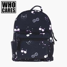 cat glasses black mini backpack women 3D printing Children School Bag mochilas who cares 2017 fashion new backpacks sac a dos(China (Mainland))