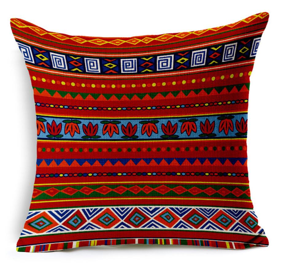 Vintage Decorative Cushion Covers Pillow Case Bohemian Design Geometric Style for sofa Home Decor Linen Cotton