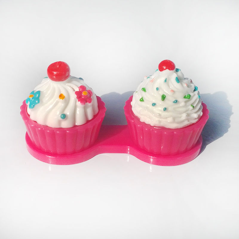 1PCS New Cartoon Cute Cream Cake Travel Glasses Contact Lenses Box Contact lens Case for Eyes