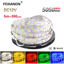 Foxanon LED Strip light 5050 DC12V 5M 300led Flexible RGB Bar Light Super Brightness Non-waterproof Indoor Home Decoration(China (Mainland))