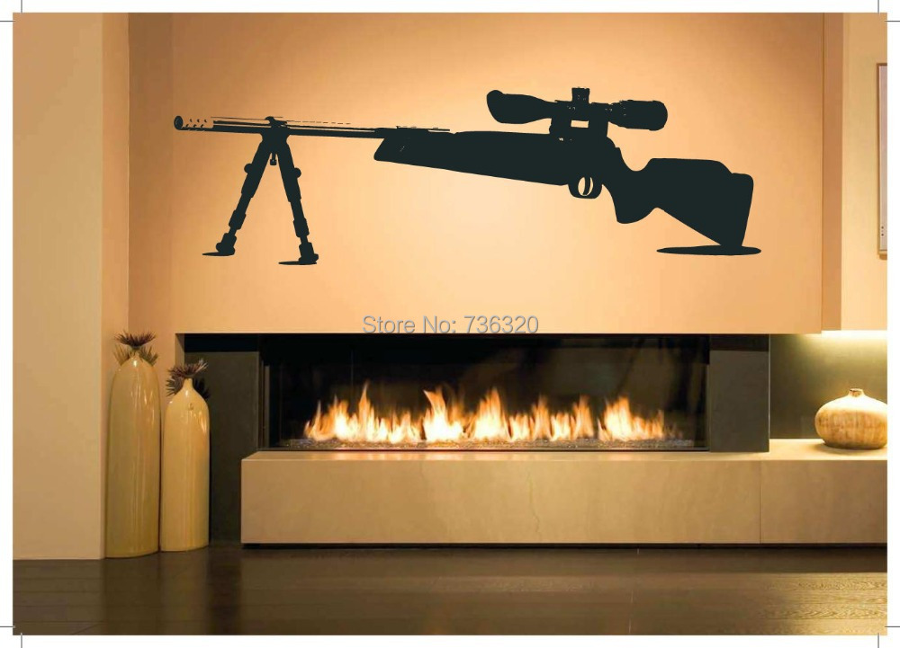 2015 Gun Vinyl Wall Decal Sniper Rifle Large Size Mural Art Sticker Bar Home Decoration Kid's Room - 365DAYS SWEET HOME (HOME Artist-Vicky Li store)