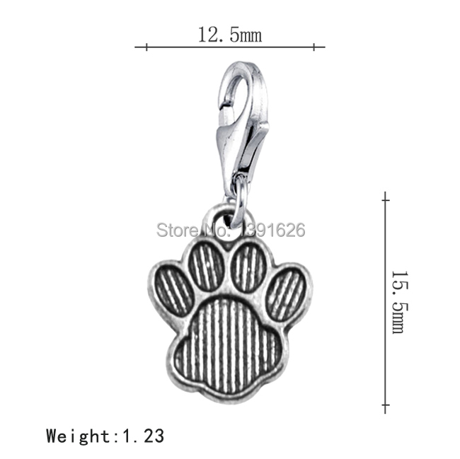 Wholesale 30Pcs Personalized Tibetan Silver Dog Footprint Lobster Clasp Floating Locket Charms(China (Mainland))