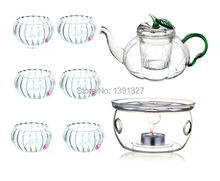 Pumpkin-shaped Glass Teapot Tea Set Manually Blow-molded  Warmer+6 Double Wall Cups+10 Candles
