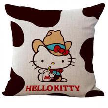 Cute Navy Cow Pink Cat Cotton Linen Throw Pillow