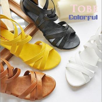 Завод продаж высокое качество размер 35-43 женские туфли плоским пятки гладиатор богемии свободного покроя обувь плоские сандалии обувь для женщин