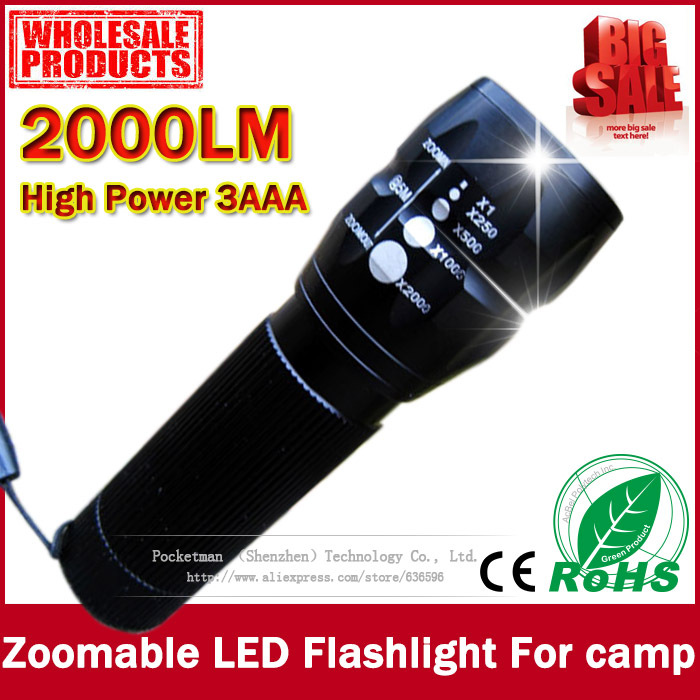 Гаджет  Free shipping cheaper and practical 2000Lumens High Power Torch Zoomable LED Flashlight Torch light For camp Flashlight None Свет и освещение