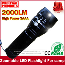 Free shipping cheaper and practical 2000Lumens High Power Torch Zoomable LED Flashlight Torch light For camp Flashlight(China (Mainland))