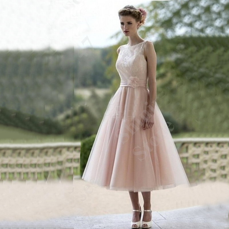 2015 a line short wedding dresses blush pink tulle wedding for Tulle a line wedding dress