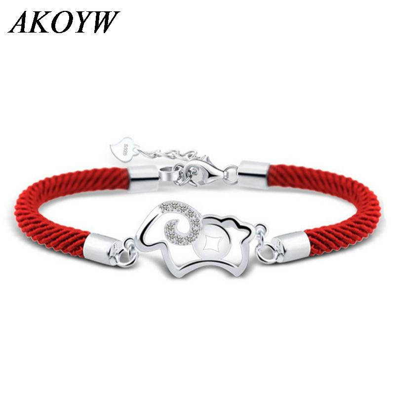 Silver plated red string bracelet female models Fashion hollow lamb cute retro jewelry wild super flash crystal jewelry(China (Mainland))