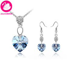 Free Shipping!!! Women's Light Blue Heart Crystal Wedding Jewelry Set (Necklace & Earring) Made With Swarovski Elements (2694)(China (Mainland))