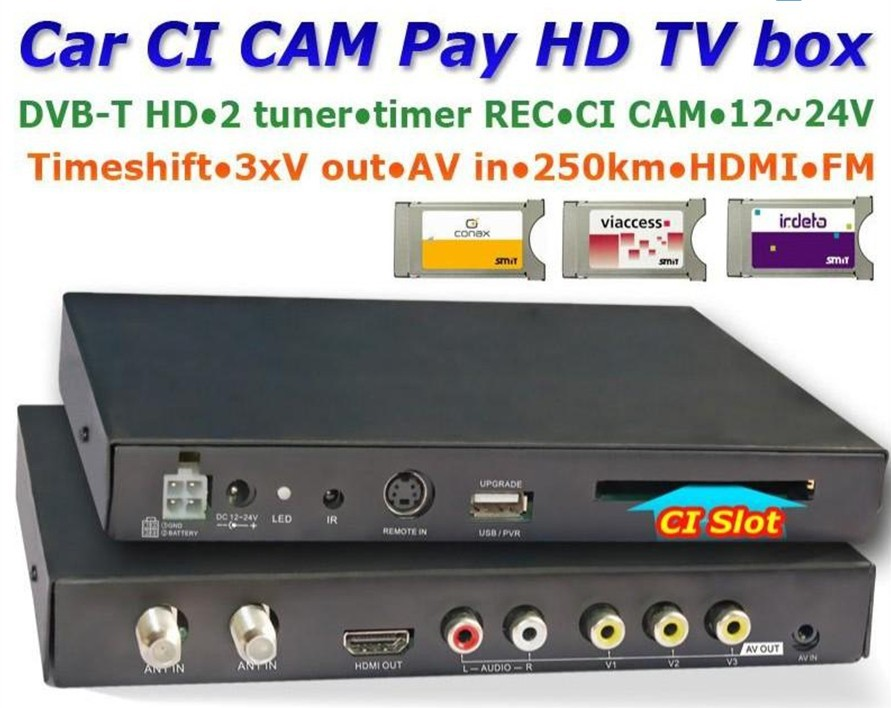 Car DVB T Digital MPEG4, H.264, 2 tuner 250km/h car HD TV CI CAM CA for conax viaccess irdeto(China (Mainland))