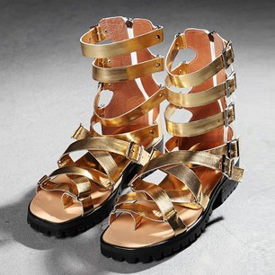 Punk trend rivet breathable men Summer boots personality adjustable Gladiator sandals/ golden / silver / leather PLUS size 47<br><br>Aliexpress