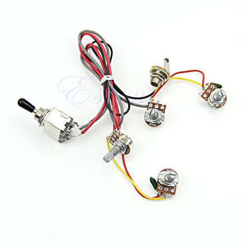 1PC Wiring Harness 2V/2T 3 Way Toggle Switch 500K Pots For Dual Humbucker LP Guitar(China (Mainland))