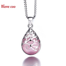 Blove coo Necklaces Pendants Women 2016 New High-Quality Silver Plated Jewelry Fashion Teardrop Design Moonlight Opal Wholesale(China (Mainland))