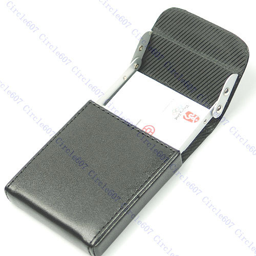 Free Shipping Black Upright Leather Name Credit Business Card Case Holder(China (Mainland))