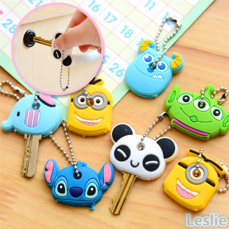 Cute Animal Cartoon Key Covers Caps Silicone Keychain Keys Shell Case Novelty Item Christmas Gift(China (Mainland))