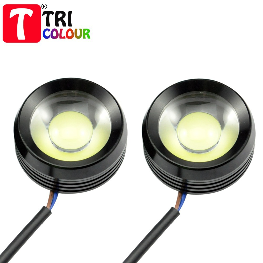 1set X Car DRL Eagle Eyes LED 2*6w 12W Super Bright white Cow Eyes Daytime running Light Fog lamp bulb Screw Style 12v #LM25(China (Mainland))