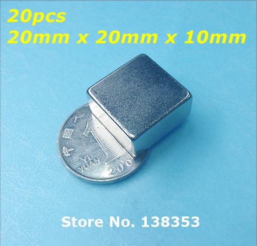 Wholesale 20pcs Super Strong Neodymium Square Block Magnets 20mm x 20mm x 10mm N35 Rare Earth NdFeB Cuboid Magnet