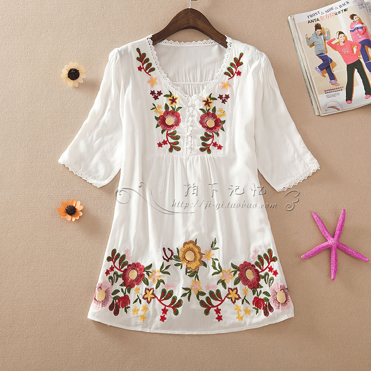 Summer Style 2016 Fashion Women Blouses Embroidery
