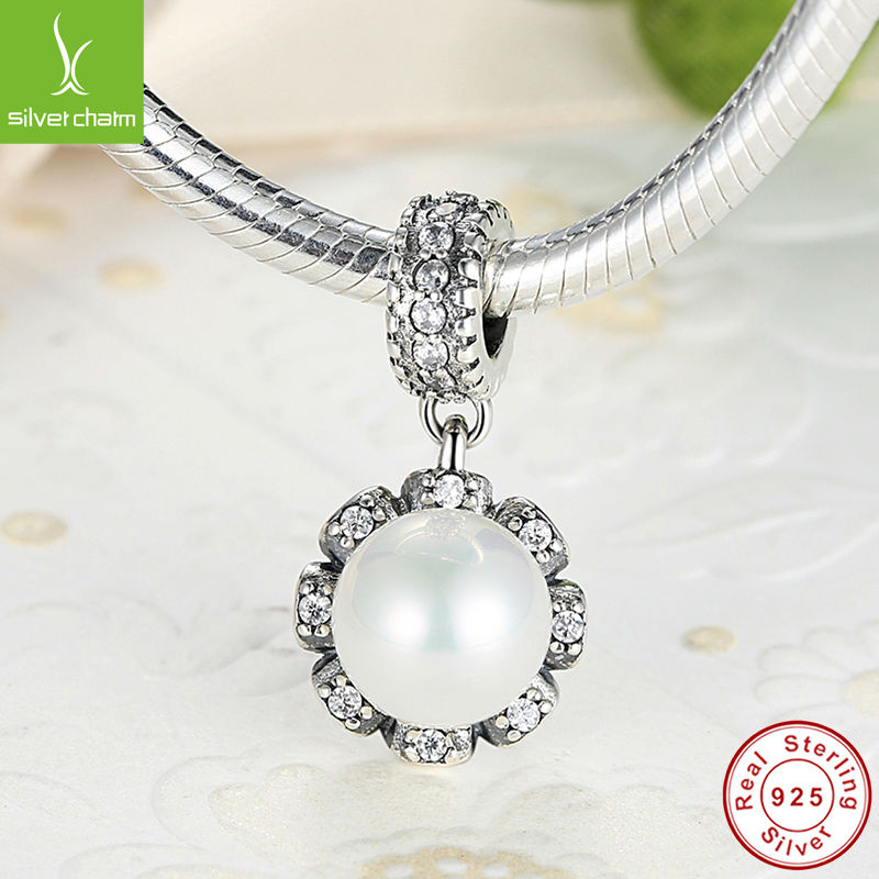 Christmas Gift 925 Sterling Silver Everlasting Grace Charm With Pearl Fit Original Pandora Bracelet Pendants Authentic Jewelry(China (Mainland))
