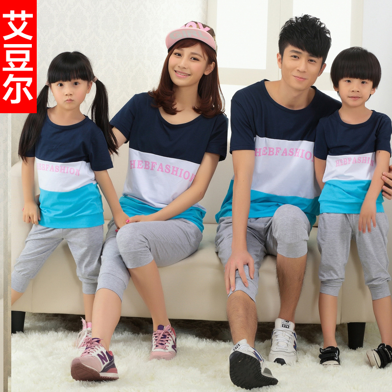 015 Hello Kitty Baby Ph Loaded Parent-child Summer Big Code For A Family Of Three Four Mouth Sheathed T-shirt Tricolor Splicing(China (Mainland))