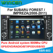 Car DVD for SUBARU FOREST /IMPREZA(2008-2011) with Pure Android wifi 3G DVD GPS BT A2DP RADIO IPOD OBD(opt) free shipping(China (Mainland))
