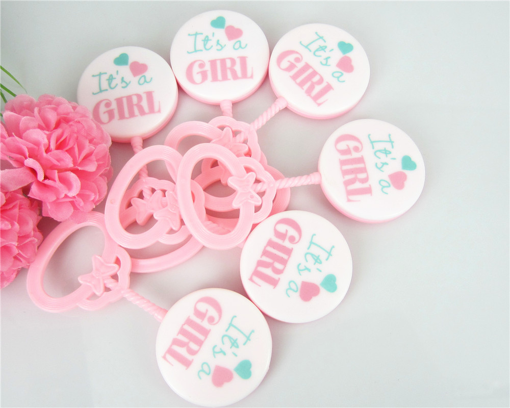 12PCS Rattles baby shower favors welcome baby party favors cup cake topper IT'S A GIRL PINK(China (Mainland))
