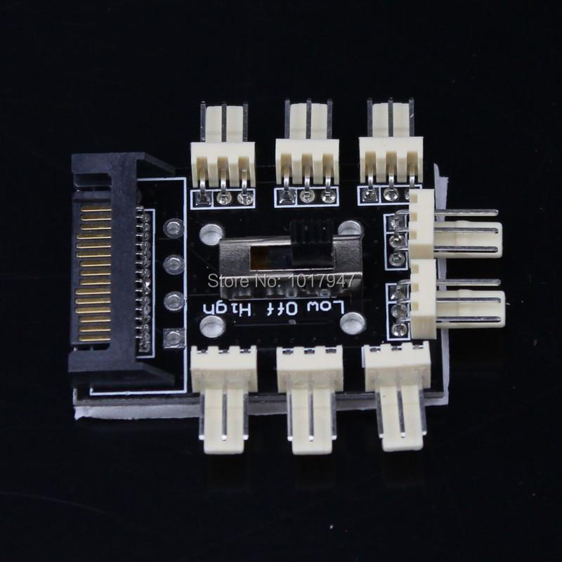 1PCS SATA power to 6-Way Cooler Cooling Fan 3Pin 3p Converter 7V 12V power Hub card(China (Mainland))