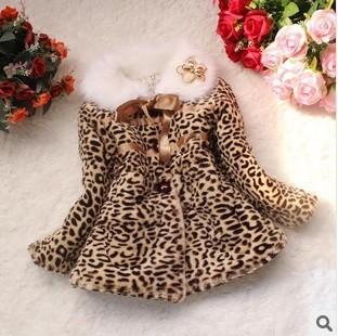 Гаджет  Retail 1PC autumn winter children clothing baby girls leopard print faux fur coat CCC229 None Детские товары