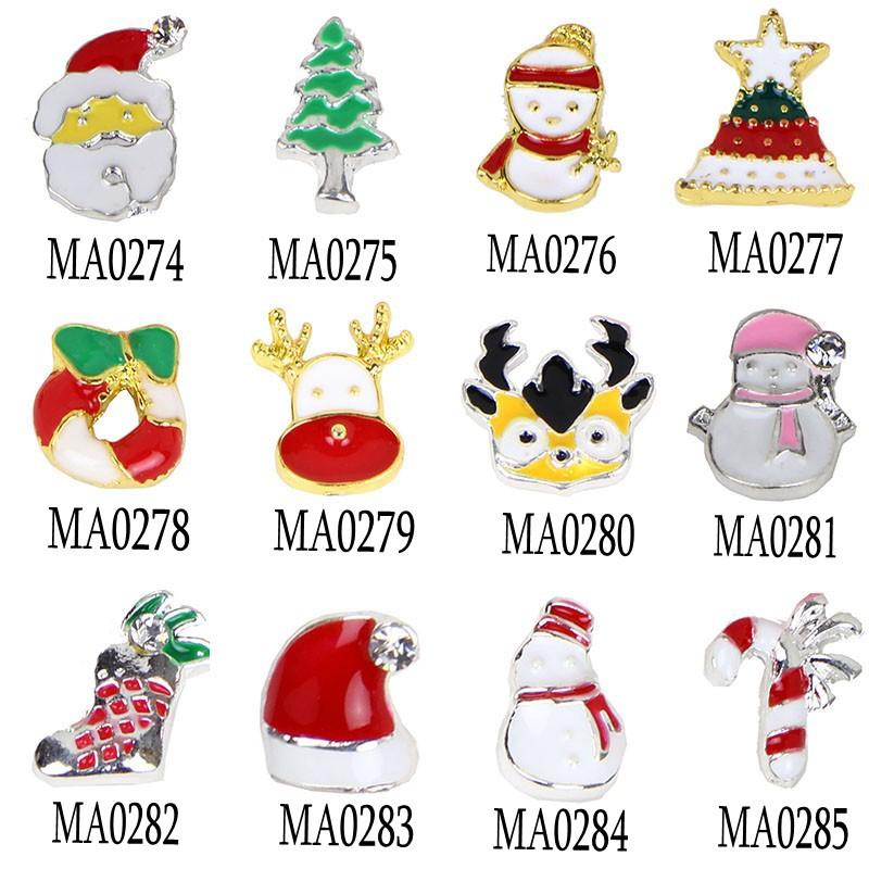 10PCS/Lot 12 Style Christmas Nail Design Jewelry Santa Claus Snowman Nail Charm 3d Alloy Nail Art For Women Decoration Bijoux(China (Mainland))