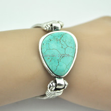 B255S(Min.Order $5)Turquoise Bracelet Volcano Lava Rock Stone Vintage Look Tibet antique Silver  Turquoise(China (Mainland))