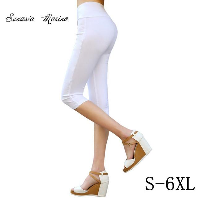2016 Летняя мода 16 цвета женские повседневные брюки Талии для похудения капри S-6XL ...