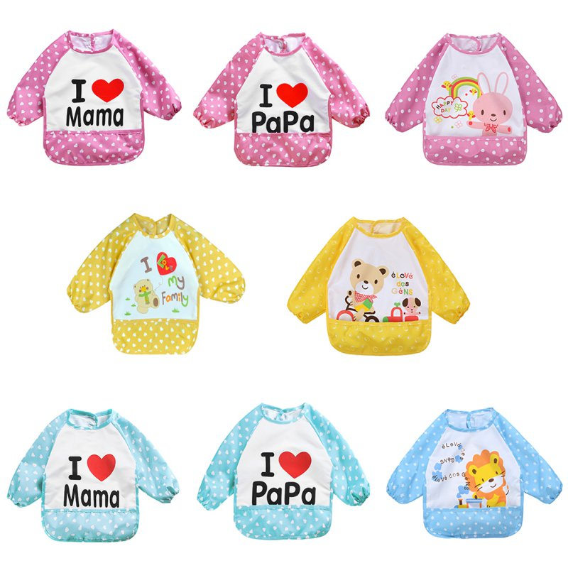 Cute Children Bib Cartoon Printed Long Sleeve Baby Bib Infant Waterproof Apron Clothing 8 Pattern for Choose L07(China (Mainland))