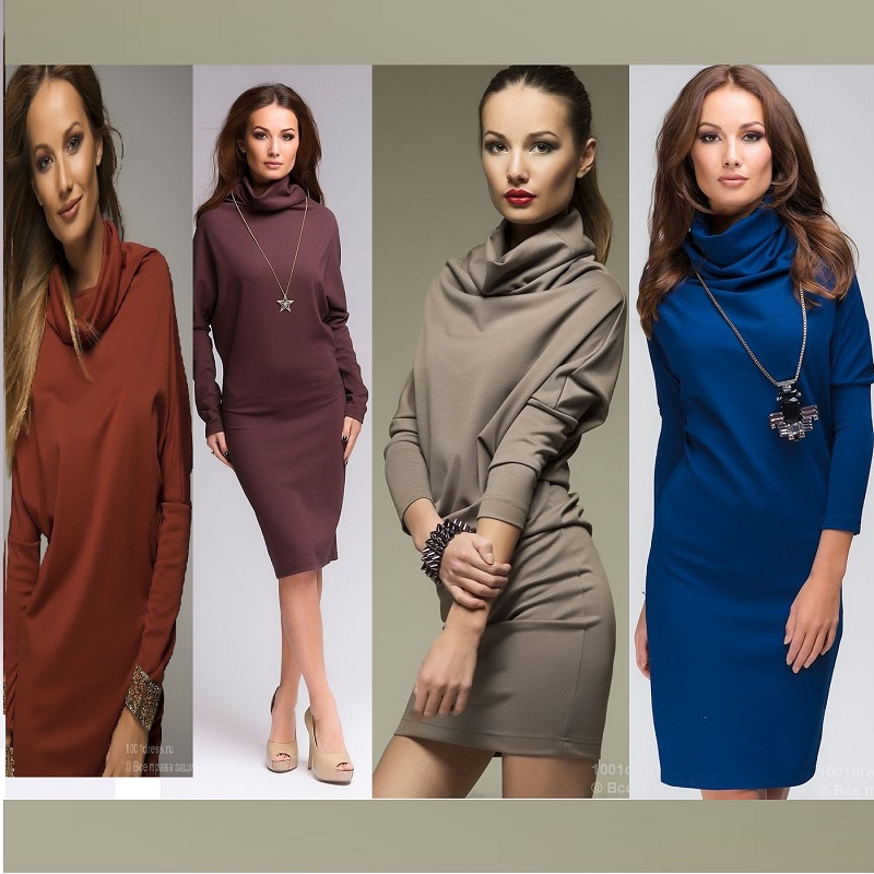 New 2015 Autumn winter dress warm high collar full sleeve casual dress elegant dresses women office pencil work wear plus size(China (Mainland))