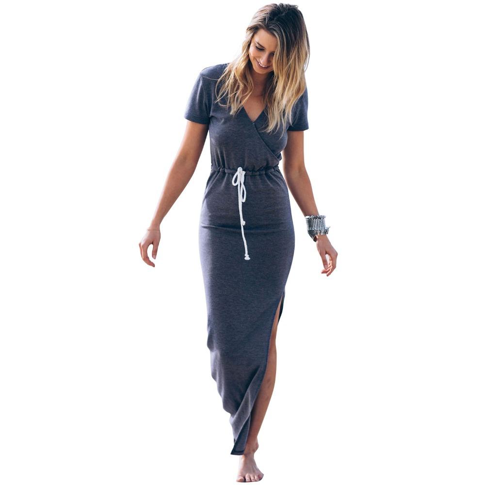 Summer dress new 2016 V neck collect waist slim split long dress casual ladies women maxi dress high end summer dresses(China (Mainland))
