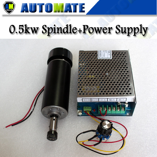 cnc spindle 500w ER11 Air cooling + Power supply with speed governor 0.5kw CNC bearing air cooled Spindle Motor kits SA008B(China (Mainland))