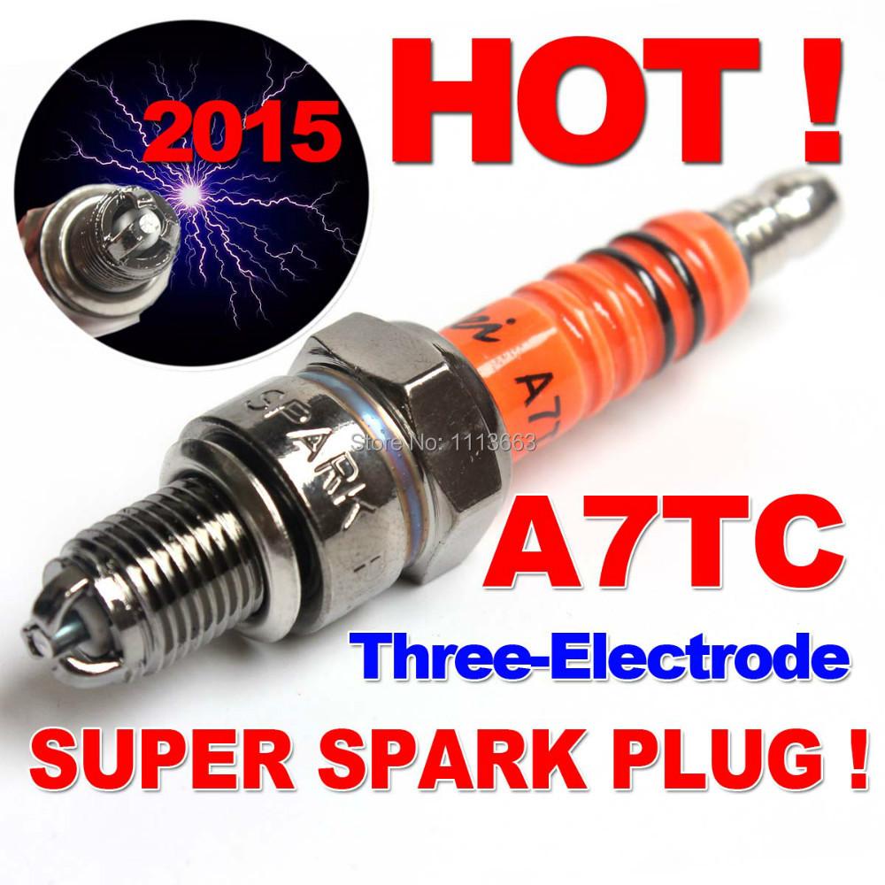 three electrode performance a7tc a7tjc motorcycle spark plug 50cc 70cc 110cc 125cc 150cc atv. Black Bedroom Furniture Sets. Home Design Ideas