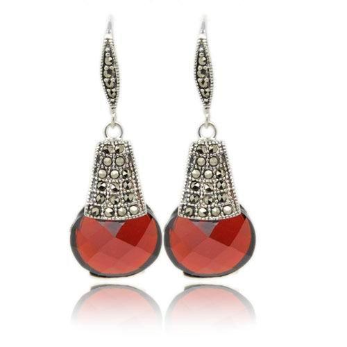 Free shipping!! SO15877,925 silver garnet drop earring<br><br>Aliexpress