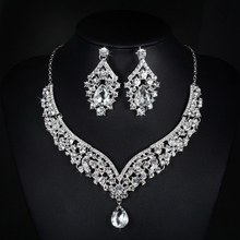 V necklace and earrings luxury crystal jewelry sets wedding engagement bijouterie vintage cz diamond embroidery decoration D022(China (Mainland))