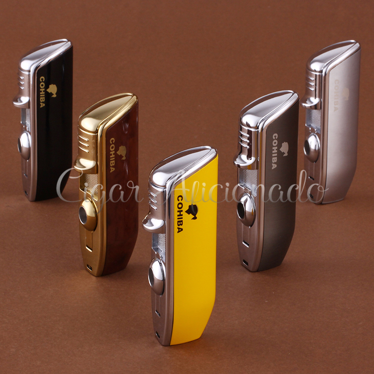 COHIBA Accessories Pocket Quality Metal Snake Mouth Shape Butane Gas Windproof 3 Torch Jet Flame Cigarette Cigar Lighter W Punch(China (Mainland))